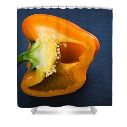 Orange Bell Pepper Blue Texture Shower Curtain