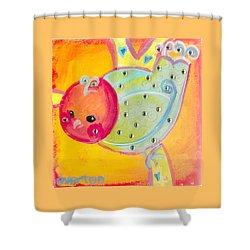 Orange Birdy Shower Curtain