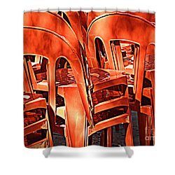 Orange Chairs Shower Curtain by Valerie Reeves