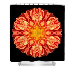 Orange Dahlia Flower Mandala Shower Curtain by David J Bookbinder