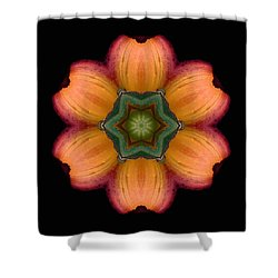 Orange Daylily Flower Mandala Shower Curtain