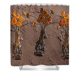 Orange Flowers Embedded In Adobe Shower Curtain