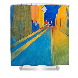 Orange France At Night Shower Curtain by Lee Beuther