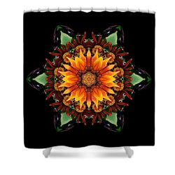 Orange Gazania IIi Flower Mandala Shower Curtain