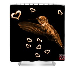 Shower Curtain featuring the digital art Orange Hummingbird - 2055 F M by James Ahn