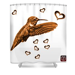 Shower Curtain featuring the digital art Orange Hummingbird - 2055 F S M by James Ahn