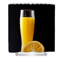 Orange Juice Shower Curtain by Gergana Chakalova