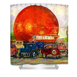 Orange Julep With Antique Cars Shower Curtain by Carole Spandau