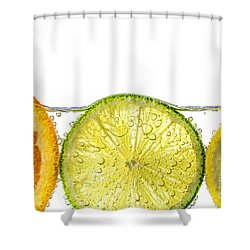 Orange Lemon And Lime Slices In Water Shower Curtain by Elena Elisseeva