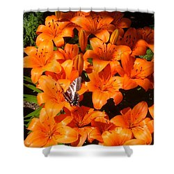 Orange Lilies Shower Curtain by Sharon Duguay