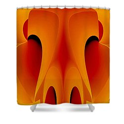 Shower Curtain featuring the mixed media Orange Mask by Rafael Salazar