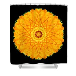 Orange Nasturtium Flower Mandala Shower Curtain