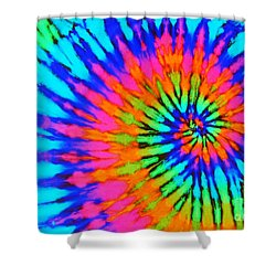 Orange Pink And Blue Tie Dye Spiral Shower Curtain
