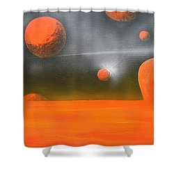 Orange Planet Shower Curtain by Tim Mullaney