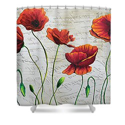 Orange Poppies Original Abstract Flower Painting By Megan Duncanson Shower Curtain by Megan Duncanson