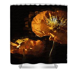 Orange Poppies Two Shower Curtain by Kirt Tisdale