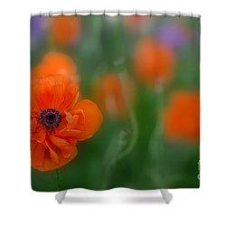 Orange Poppy Shower Curtain