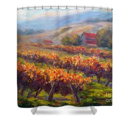 Orange Red Vines Shower Curtain