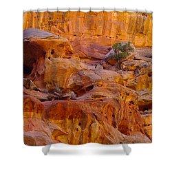 Orange Rock Formation Shower Curtain by Jeff Swan