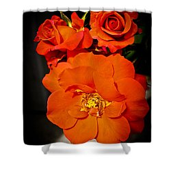Shower Curtain featuring the photograph Orange Rose Trio by Joann Copeland-Paul