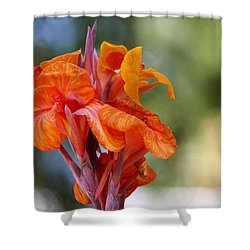 Orange Ruffled Beauty Shower Curtain