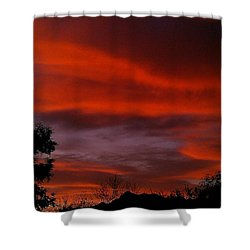 Shower Curtain featuring the photograph Orange Sky by Chris Tarpening
