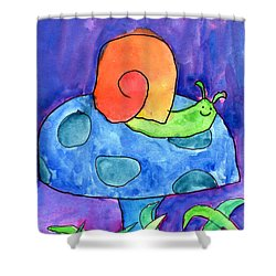 Orange Snail Shower Curtain