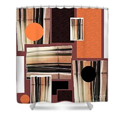 Shower Curtain featuring the mixed media Orange Stacked Up by Ann Calvo