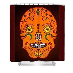 Orange Sugar Skull Shower Curtain