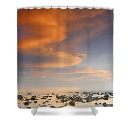 Orange Sunset At The Rocks Shower Curtain by Guido Montanes Castillo
