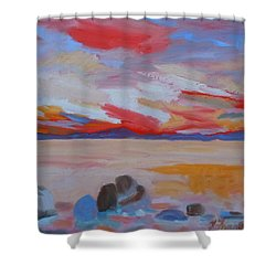 Shower Curtain featuring the painting Orange Sunset by Francine Frank