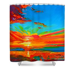 Orange Sunset Landscape Shower Curtain by Patricia Awapara