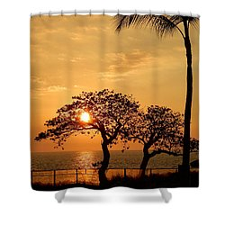 Orange Sunset Shower Curtain by Pamela Walton