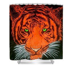 Orange Tiger Shower Curtain by Justin Moore