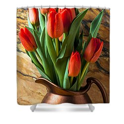 Orange Tulips In Copper Pitcher Shower Curtain by Garry Gay