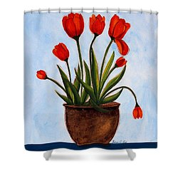 Orange Tulips On A Blue Buffet Shower Curtain by Barbara Griffin