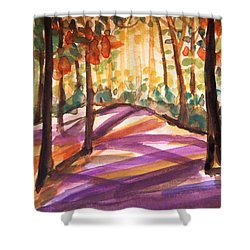 Orange Woods Shower Curtain