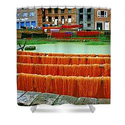 Orange Yarn Shower Curtain