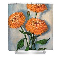 Shower Curtain featuring the painting Orange Zinnias by Randol Burns