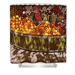 Shower Curtain featuring the photograph Oranges And Flowers by Miriam Danar
