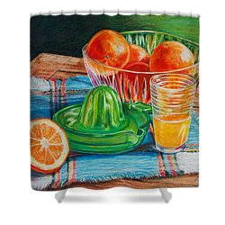 Shower Curtain featuring the drawing Oranges by Joy Nichols