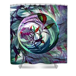 Orbiting Cranberry Dreams Shower Curtain by Robin Moline