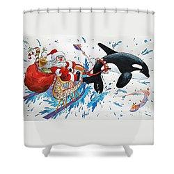 Orca Santa Shower Curtain by James Williamson