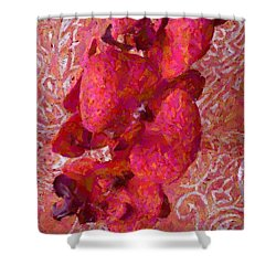 Orchid On Fabric Shower Curtain by Barbie Corbett-Newmin