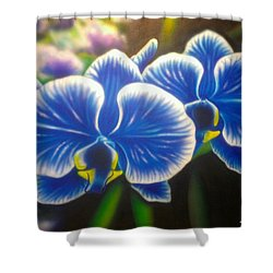 Orchid-strated Blues Shower Curtain by Darren Robinson