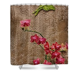 Orchids And Butterfly Shower Curtain by John Haldane