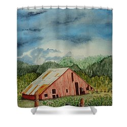 Shower Curtain featuring the painting Oregon Barn by Katherine Young-Beck