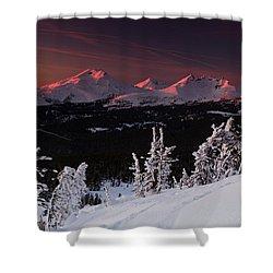 Oregon Cascades Winter Sunset Shower Curtain