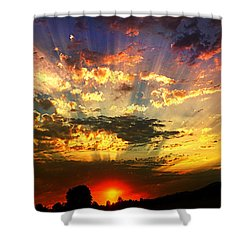 Oregon Crepuscular Sunset Shower Curtain
