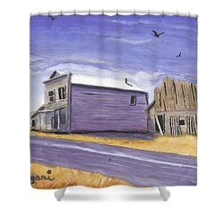 Oregon Ghost Town Watercolor Shower Curtain